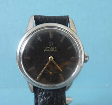 Omega Genuine Leather Strap Watches with Acrylic Crystal