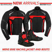 Mens Motorcycle Motorbike Jacket Waterproof CE Armoured Biker Leather Boot Shoes
