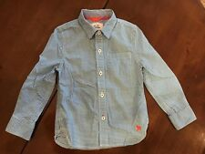 Mini Boden Boy's 3-4 Years Blue Checked Button Down Long Sleeved Oxford Shirt