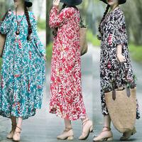 UK Women Summer Floral Beach Long Dress Ladies Loose Kafatn Maxi Dress Size 8-24