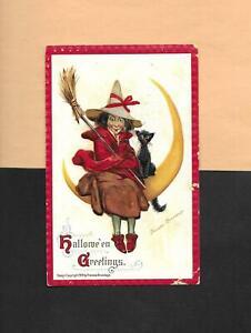 WITCH, BLACK CAT, CRESCENT MOON On A/S BRUNDAGE Vintage 1911 HALLOWEEN Postcard