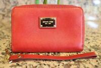 MICHAEL KORS Red Leather Zip around Wristlet Wallet (u600