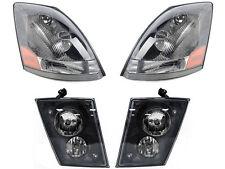 Volvo 2004- 2015 VN VNL VNM 630 670 Series HEADLIGHTS FOG LIGHTS SET - BLACK