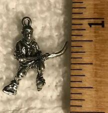 Charms-Sterling Silver Hockey Player-Ice Hockey Roller Hockey 3D Jewelry