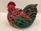 Cast Iron Painted Chicken Hen Garden Hanging Candle Holder Lantern Ornate #10146