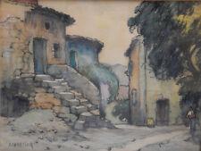 Chartier Charles- Rue de village 1927- Aquarelle v24
