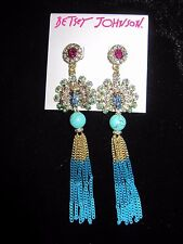Betsey Johnson boho crystal peacock bead fringe dangle earrings