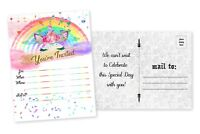 20 Girl Birthday Invitations Baby Shower Slumber Party Unicorn Invites Rainbow
