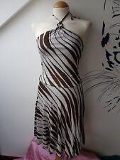 UK8 MISS SIXTY Sexy Stripes Halterneck Summer Fashion Slinky Party Club Dress