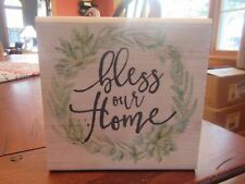 """Wooden Box Sign by p. Grahm Dunn """"Bless Our Home"""""""