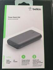 Belkin 20,000 MAH POWER BANK - BLACK 2 USB.  20k mAh New style