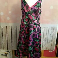 EVANS - STUNNING ROSE PRINT FIT N FLARE COCKTAIL PARTY OCCASION DRESS UK 16 VGC