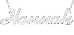 925 Sterling Silver HANNAH Name Necklace Womens Pendant Gift Ready Stock