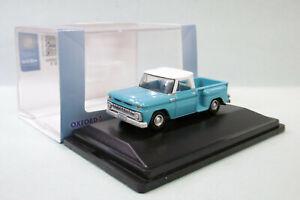 Oxford - CHEVROLET STEPSIDE Pick-up 1965 bleu Voiture US Neuf HO 1/87