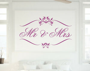 Mr & Mrs Stencil Vintage Wedding Paint Wall Furniture Cardmaking Crafts QU7