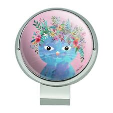 Blue Cat Flower Hat Golf Hat Clip With Magnetic Ball Marker