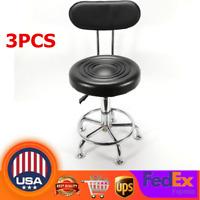 3PCS Tall Work Shop Stool Bench Mechanics Chair Swivel Garage Adjustable Height