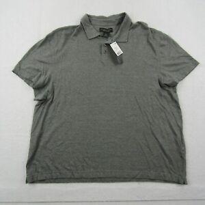 New Bloomingdales Polo Shirt Adult 2XL XXL Men Green Cotton Linen Casual