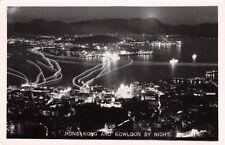 HONG KONG  - Kowloon,  view by night  - Real Photo.