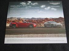2014 Aston Martin Sales Sheet V8 Vantage GT V12 DB9 Vanquish Rapide S Brochure