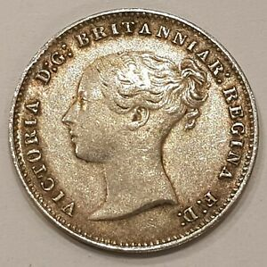 1850 Victoria Threepence Silver Coin EF