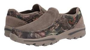 SKECHERS Men's Memory Foam Slip On Shoes, Med and XWide in Camo, Grey, Nav & Tan