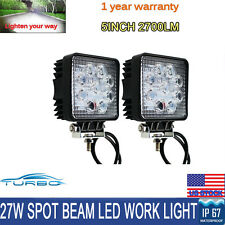 2X 27W Square Spot LED Work Light Offroad Fog Driving UTE Boat Truck SUV ATV 4WD