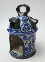 VINTAGE SIGNED GOUDA HOLLAND POTTERY CARLA PIERCED LANTERN CANDLE HOLDER LAMP