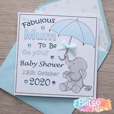 "Personalised Handmade Baby Shower Card Boy Blue "" Elephant Umbrella "" Mum To Be"
