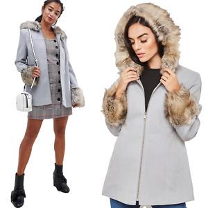 ex Miss Selfridge Pale Grey Faux Fur Trim Hooded Duffle Swing Coat £75 Sizs 8-14