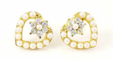 Love Heart Valentines Crystal Pearl Gold Jewellery Stud Earrings