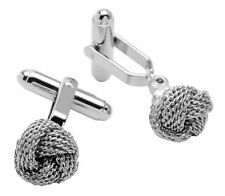 Silver-Tone Mens Cuff Links Classic Love Double Knot Cufflinks