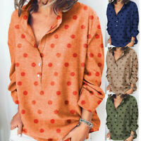 Women's Ladies Casual Long Sleeve Button T Shirts Loose Blouse Tops Tunic Tank