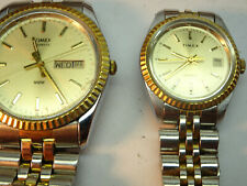RARE VINTAGE  HIS AND HERS FLUTED BEZEL TIMEX QUARTZ WATCHES RUNNING CONDITION