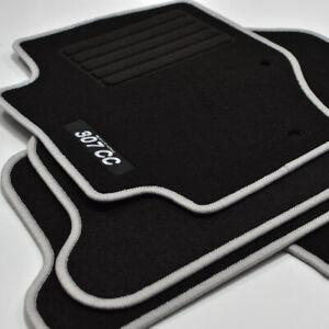 MP Velours Logo Fußmatten passend für Peugeot 307 CC ab Bj.10/2001 - 2009 silber