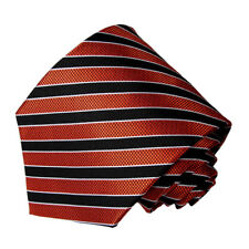 men's red and black  striped  pattern woven tie
