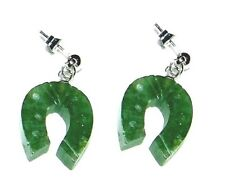 UNIQUE CARVED JADE HORSESHOE EARRINGS - 1 INCH