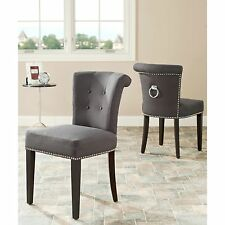2 Grey Padded Side Chairs Nail Head Silver Ring Accent Kitchen Dining Room Seat