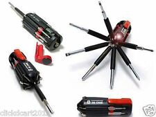 8 In 1 Multi Screwdriver With LED Portable Torch Flashlight Set