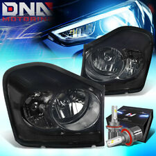 FOR 2004-2006 DODGE DURANGO OE STYLE HEADLIGHTS W/LED KIT+COOL FAN SMOKED/CLEAR