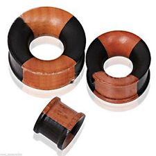 "PAIR-Wood 2 Tone Sapodilla Double Flare Tunnels 14mm/9/16"" Gauge Body Jewelry"