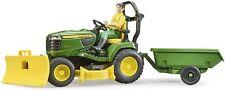 Bruder 09824 John Deere X949 4 Riding Lawn Mower Tractor W/ Trailer Plow