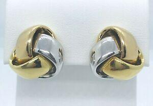 18k Yellow & White Gold Triple Love Knot Omega Clip Earrings
