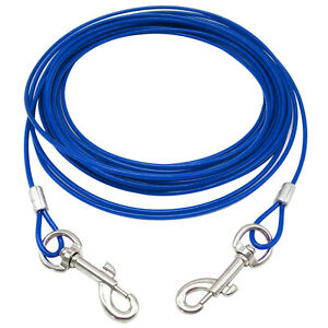 Durable Dog Tie-Out Cable Leash Metal Steel Wire Dog Chain Leash 10/16/32FT