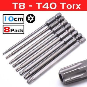 8Pcs Long Torx Screwdriver Bits 100mm Hex Security Magnetic Head Repair Tools