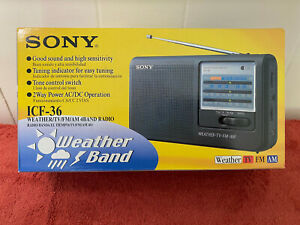 Sony ICF-36 4-Band Portable Radio Weather/TV/AM/FM NOS