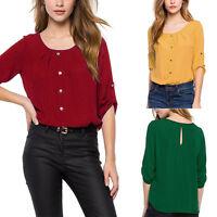 Hot Womens Lady Loose Half Sleeve Chiffon Casual Blouse Shirt Tops Fashion S~2XL