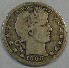 USA, BARBER QUARTER (25 C.) 1906-D, SILVER COIN MINT DENVER!!!