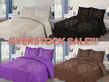 Quilted Diana 3-Piece Bedspread Embroidered Coverlet Bedding Set OVERSTOCK SALE!