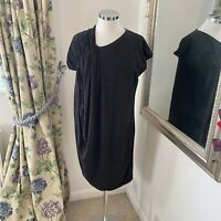 Cos M 10 12 black jersey ruched Grecian loose fit shift dress summer holiday